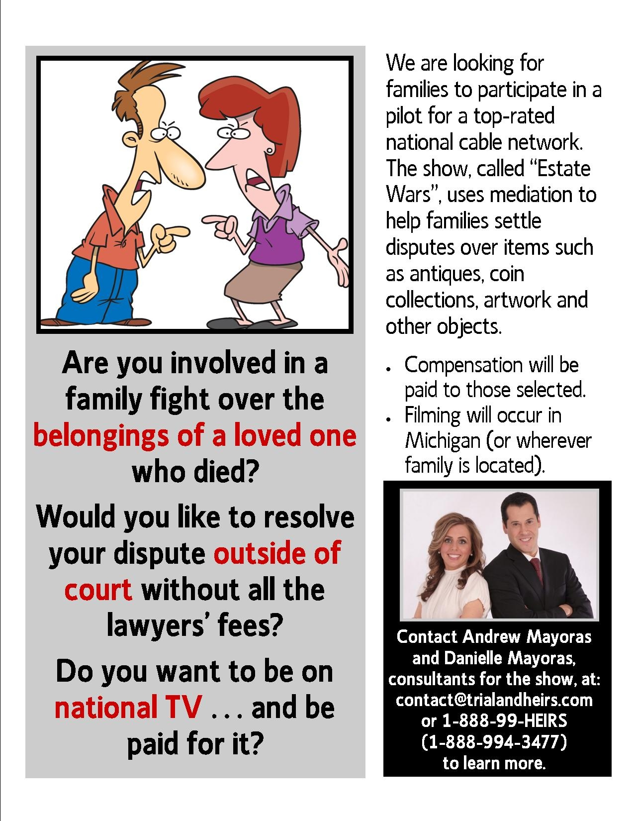 Families needed for new tv show estate wars the probate lawyer blog family fight flyer solutioingenieria Images