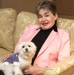 Leona Helmsley with dog